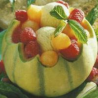 Recette de sorbets en coque de melon